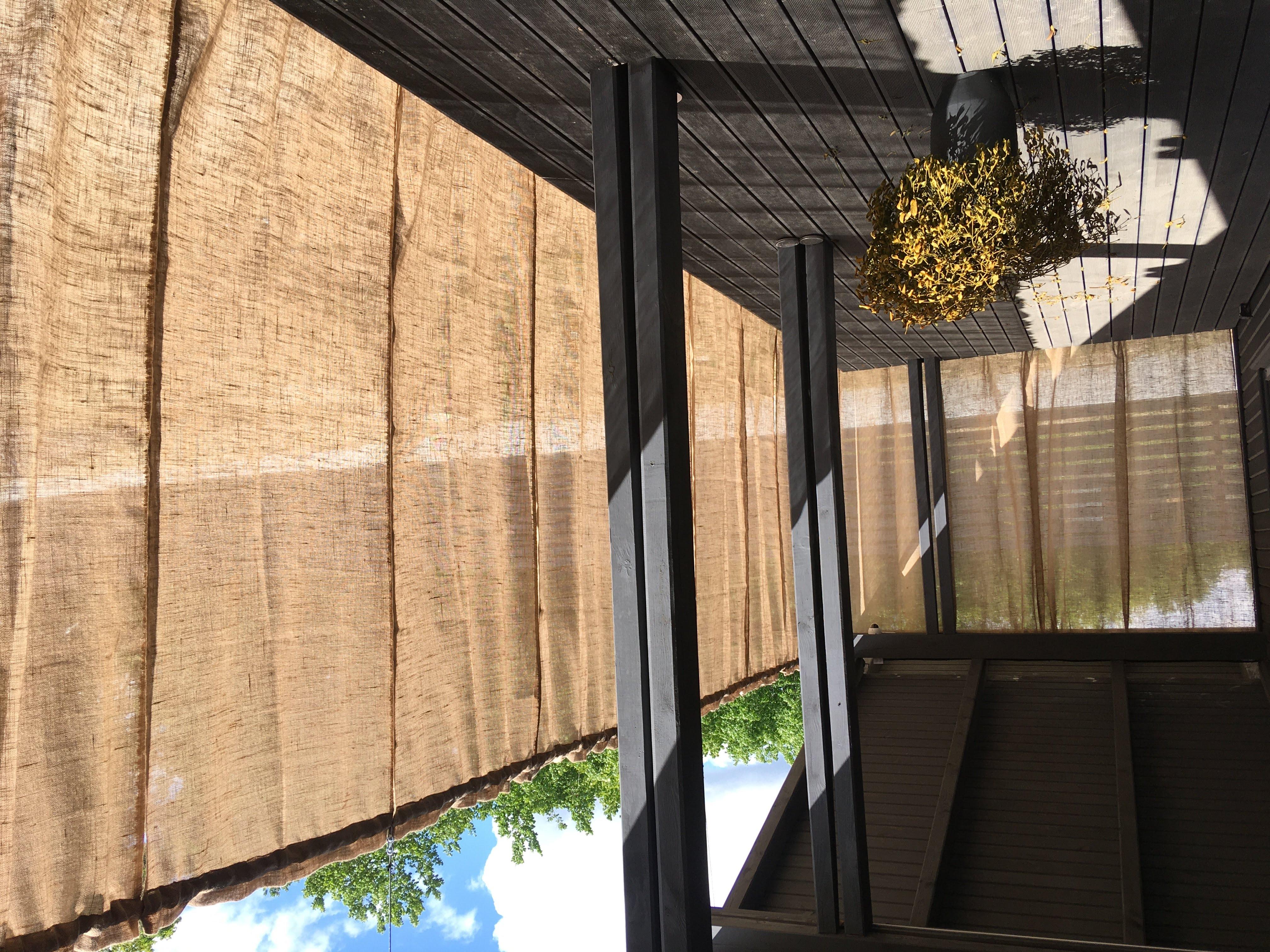 Шторы для террасы из декоративной мешковины
